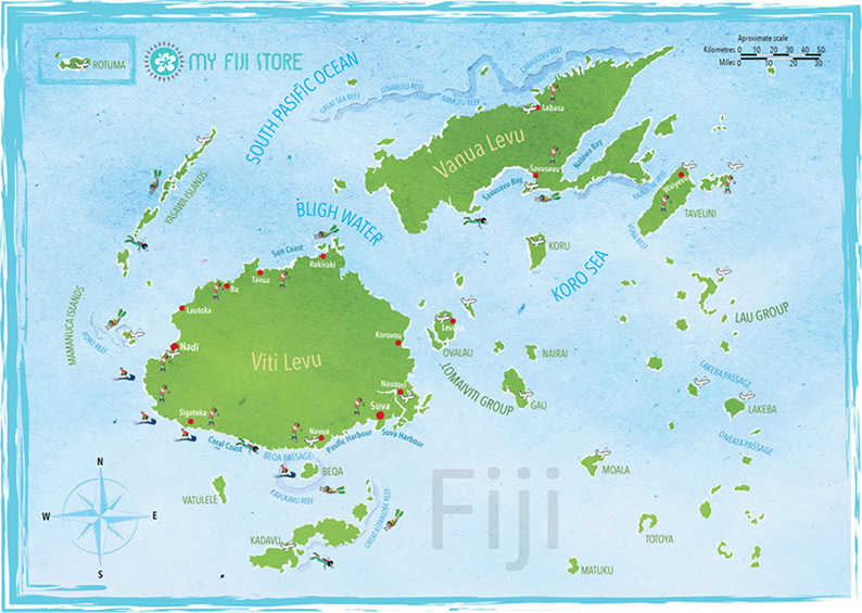 My Fiji Store map of the Fiji Islands